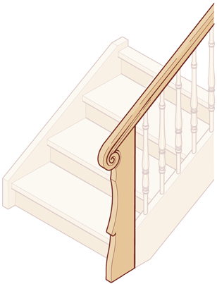 Geschnitzte Pfosten- / Handlauf-Kombination