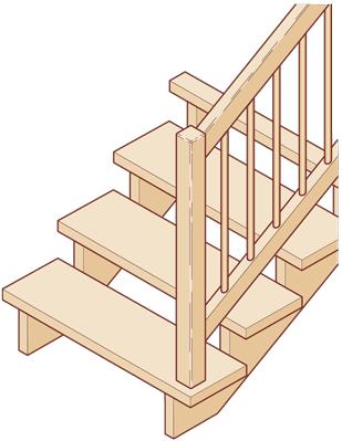"""Aufgesattelte Treppe """"offen"""""""
