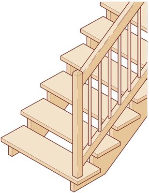 Aufgesattelte Treppen mit Untergurt