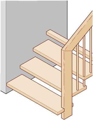 Geländertragende Treppe mit Wandbolzen