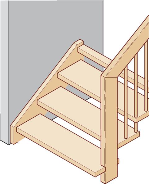 Geländertragende Treppe mit Wange